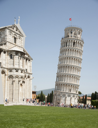 Italy, Pisa. The famous Leaning Tower and the Church Stock Photo