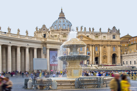 Vatican, Rome, Italy may-16.2015: The fountain on the square in front of St. Peters Basilica Editorial