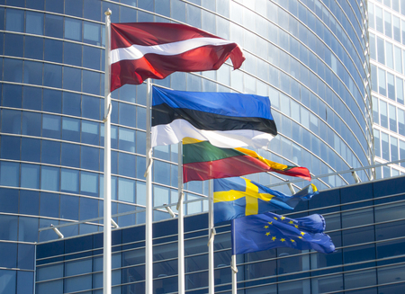 The flag of the European Union and the Baltic countries of Latvia, Estonia, Lithuania and Sweden.