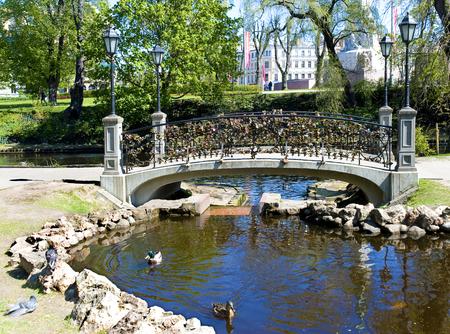 Europe, Baltic, Latvia, Riga.  Padlocks on the bridge of all lovers. Riga the cultural capital of Europe in 2014.