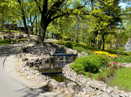 Europe, Latvia, Riga., Cascade falls and landscaping on a bastionny hill in Riga. Stock Photo