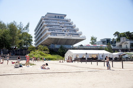 Europe, Latvia, Jurmala- July 05,2014: Rest in the known resort in Jurmala. View of the beach and Baltic Beach Hotel.