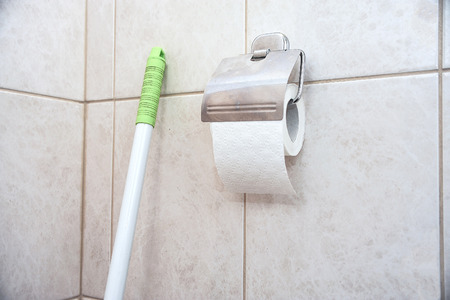 Fragment of the toilet room with a roll of toilet paper and a handle from the brush.