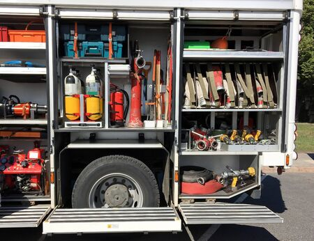 Content and equipment of the internal part of the fire truck