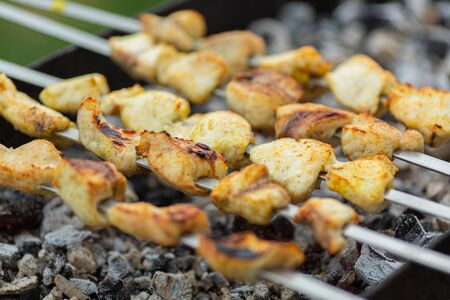 skewers with cooked chicken meat lie on the grill above the coals