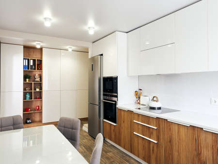 detail of modern whit kitchen interior