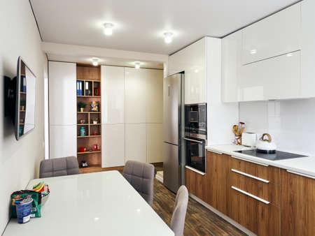 detail of modern whit kitchen interior