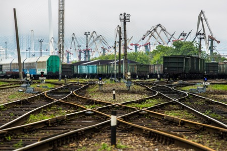 Railway tracks and the port in the background