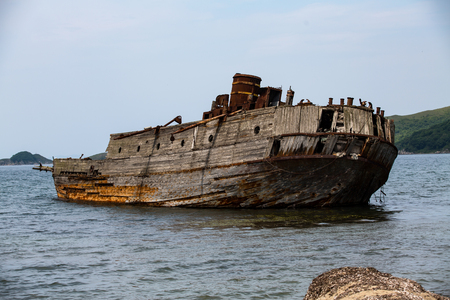 The remains of a sunken ship in the Japanese Sea