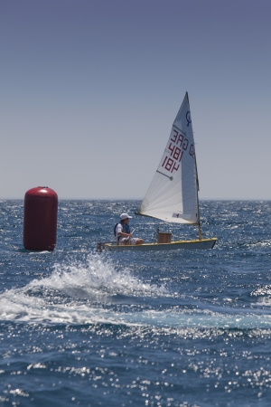 ALEXANDROUPOLI, GREECE - JULY 21  An unidentified sailing athletes at International Summer Regatta sailing action in Mediterranean sea on July 21, 2012 in Alexandroupoli, Greece Stock Photo - 15080479