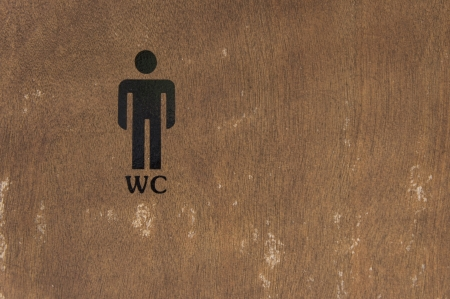 Mens Public Toilet Sign on a wooden door  photo