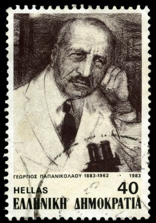 pap smear: GREECE - CIRCA 1983  A stamp printed in Greece shows medical researcher Georgios Papanikolaou, circa 1983
