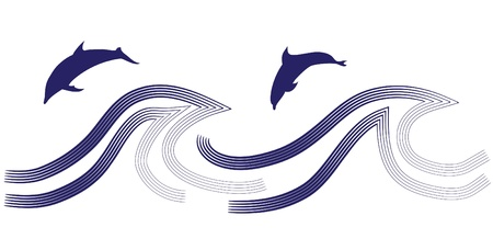 Silhouettes of the dolphins jumping through a wave Stock Vector - 16761113
