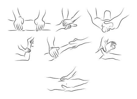 massage therapie: Massage technieken als illustratie Stock Illustratie