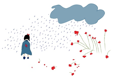 Girl in the rain without an umbrella, illustration Stock Vector - 16761127
