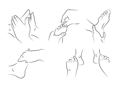 Reflexology techniques as illustration  Illustration