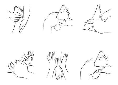 massage symbol: Reflexology techniques as illustration  Illustration