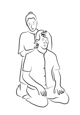 Shiatsu massage illustration  Ilustração