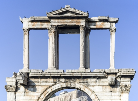 hadrian: Arch of Hadrian in Athens, Greece under sunlight Stock Photo