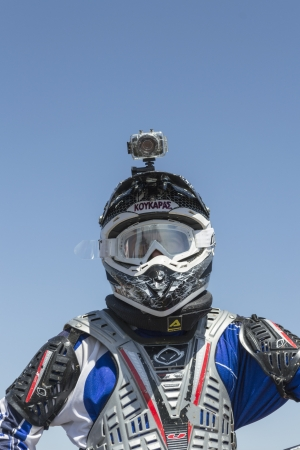 ALEXANDROUPOLIS, GREECE - MAY  Unknown rider with camera of his head participates at Second motocross race for the champion of north Hellas, on 26 May 2013, in Alexandroupolis Greece