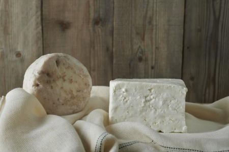 ewes: cube of fresh feta cheese on a  cheesecloth Stock Photo