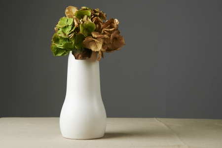 All fall down, dried leaves in a white vase on the table Stock Photo