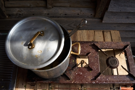 old vintage iron metal cooking pot, closed Stock Photo