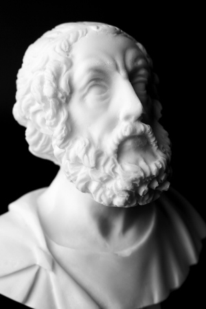 homer: Homer is the author of the poems, Iliad and Odyssey known as Homeric Epics.  White marble bust of the greek poet.