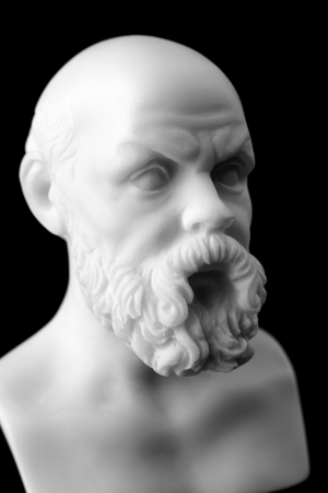 Socrates lived in Athens (470 BC - 399 BC) was a Greek Athenian philosopher is one of the most important figures in the world. It is one of the founders of Western philosophy.  White marble bust of him. photo
