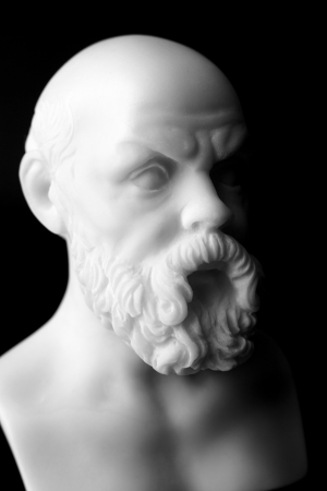 platon: Socrates lived in Athens (470 BC - 399 BC) was a Greek Athenian philosopher is one of the most important figures in the world. It is one of the founders of Western philosophy.  White marble bust of him. Stock Photo
