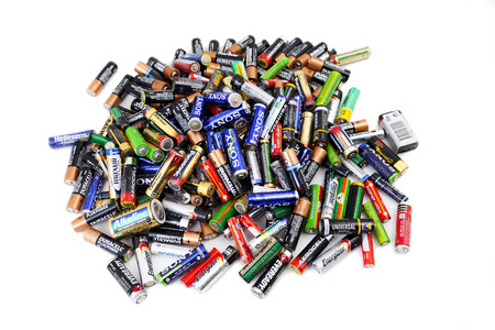 Alexanroupoli, Greece,  - NOVEMBER 14: Different types of used batteries ready for recycling on November 14, 2013, Types are AAA, AA,