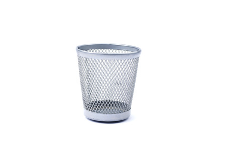 Empty iron trash bin isolated on white  photo