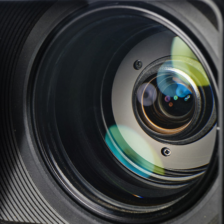 camera lens: Professional digital video camera, isolated on white  Stock Photo