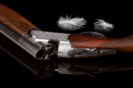 antique rifle: hunting gun with a white feather