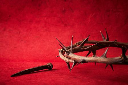 イエス ・ キリストいばらの冠と釘 写真素材