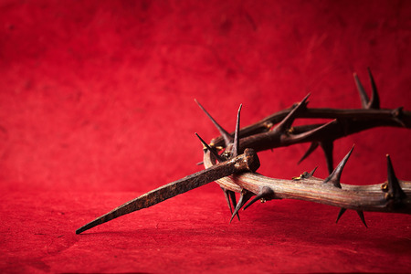 holy week: Jesus Christ crown of thorns and a nail