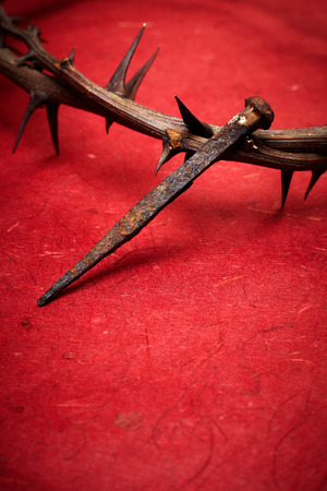 Jesus Christ crown of thorns and a nail Stock Photo