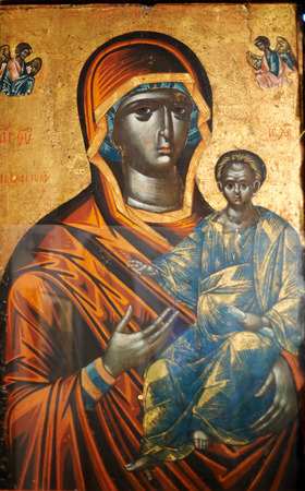 destined: ISTANBUL - TURKEY - OCT 26: Byzantine icon of the Black Virgin. It is the only image of Virgin Mary with Jesus Christ depicted as black. Located in the Theological School of Halki and destined for countries in Africa, but never arrived there. On October 2