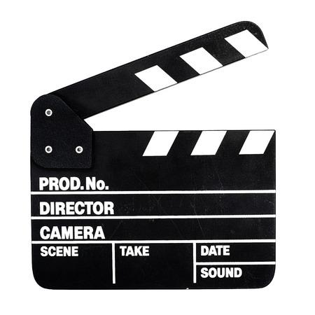 白い背景の上の映画クラッパー ボード 写真素材