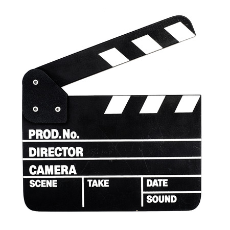 Movie clapper board on white background Imagens - 35238883