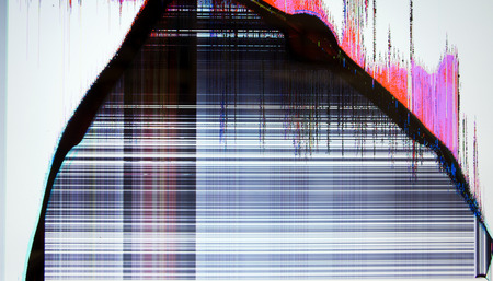 tv screen with static noise. bad signal reception Stock Photo