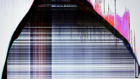 静的なノイズとテレビの画面。悪い信号の受信