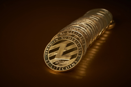 conceptual image for crypto currency. Litecoin gold coin. Imagens