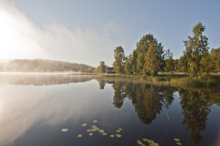 Finland, fog on the water. Finland is a country of thousands of lakes and islands, about 188,000 lakes and 179,000 islands. The area with the most lakes is called Finnish Lakeland.