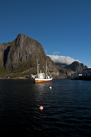 Moskenes, Norway. Moskenes is a small town in the municipality of Moskenes in Nordland county, Norway. Stock Photo