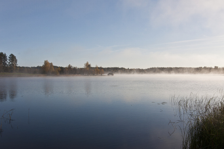 fog on the water, early morning nature scene, fog on the lake