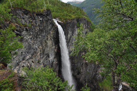 Vettisfossen, Norway, Jotunheimen National Park. Jotunheimen National Park is a national park in Norway, recognized as one of the countrys premier hiking and fishing regions.