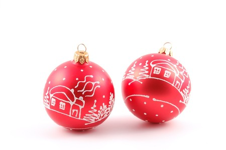 christmas toys red balls on white background