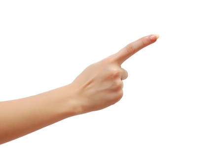 fingers on top: Index finger isolated on white background Stock Photo