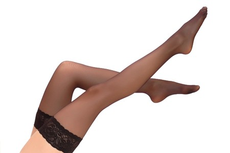 Beautiful woman legs in stockings Stock Photo